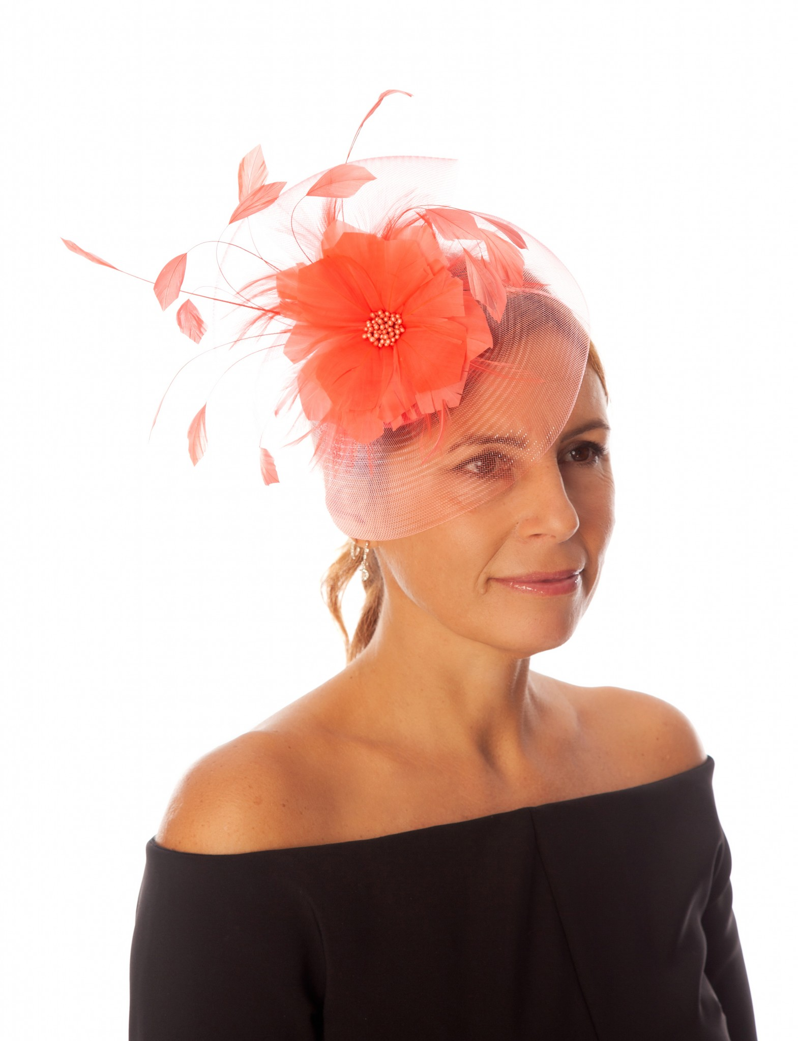 Snoxell Gwyther Fascinator Coral Fascinators